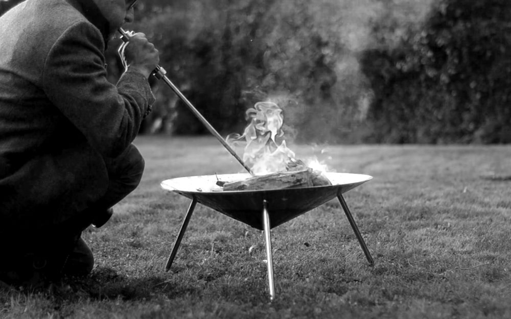 The Blowker being used to stoke up the portable firewok